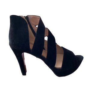 "Shoes - Black Caged Suede Peep-toe  4"" Heels Size 9.5"
